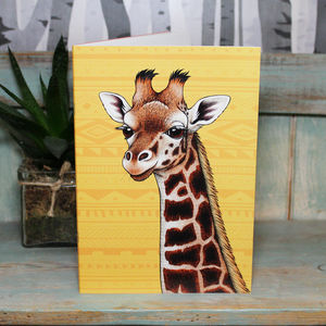 Giraffe Illustration Notebook With Lined Pages