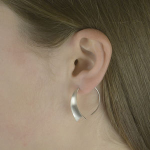 Matt Wedge Sterling Silver Hoop Earrings