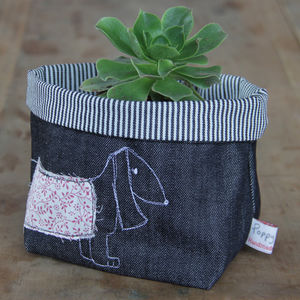 Dachshund Embroidered Fabric Storage Pot - bedroom
