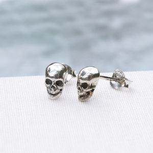 Tiny Skull Sterling Silver Stud Earrings