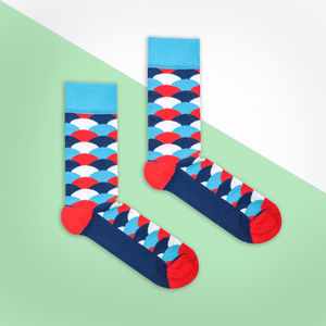 Blue, Red And White And Red Fan Sock - men's fashion