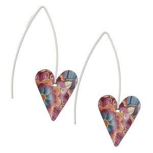 Tiger Lily Vintage Floral Long Heart Earrings