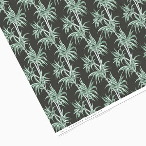 Dark Tropical Palm Tree Wrapping Paper