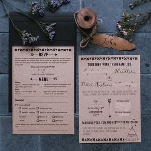 Kraft Teepee Wedding Invitation Suite - wedding stationery