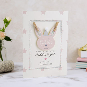 Personalised Bunny Birthday Card By Button Box Cards