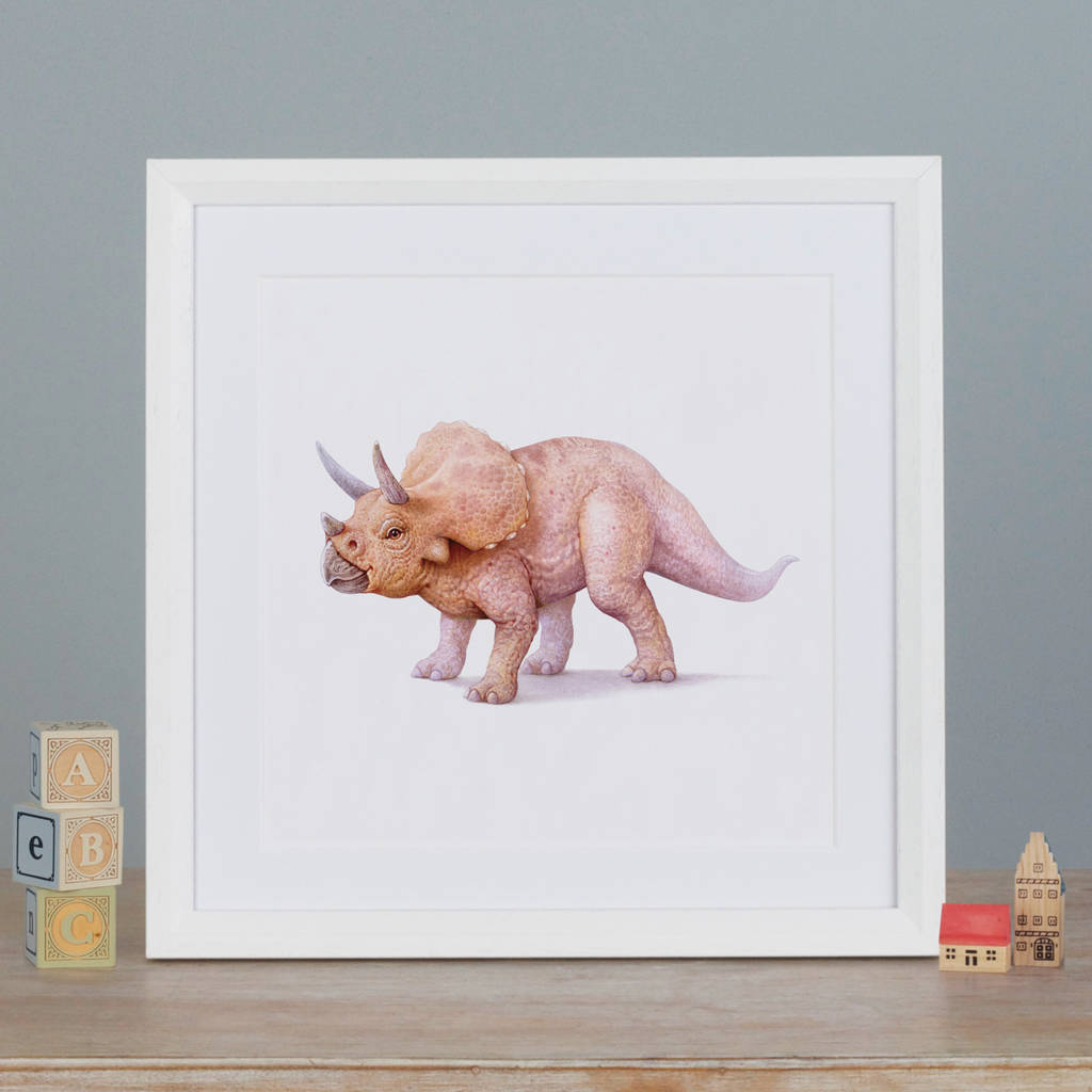 Illustrated Triceratops Print By Little Blue Zebra ...