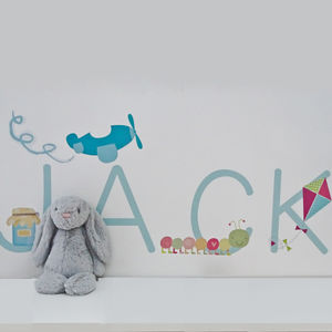 Personalised Name Fabric Wall Stickers - children's room accessories