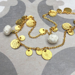 Long Boho Gold Pompom And Coin Necklace - necklaces & pendants