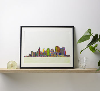 New York Multicoloured Illustration Print