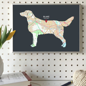 Personalised Map With Flat Coated Retriever