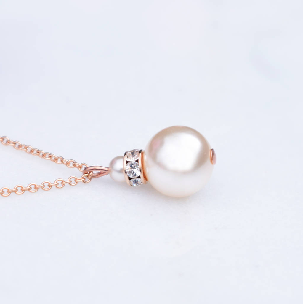 Rose Gold Crystal And Pearl Pendant Necklace