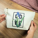 Personalised Birth Flower And Word Make Up Bag