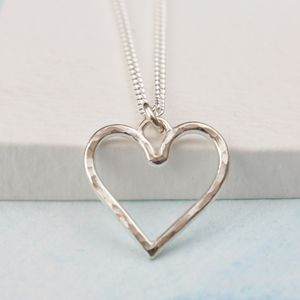 Silver Hammered Heart Necklace - necklaces & pendants