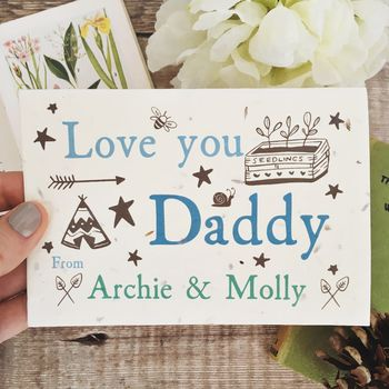 Grows Into Wildflowers Personalised Daddy Card