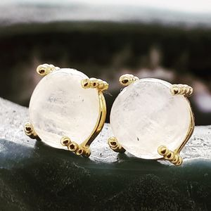 Moonstone Gold Stud Earrings