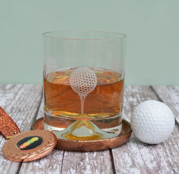 Golfer's Etched Glass Tumbler