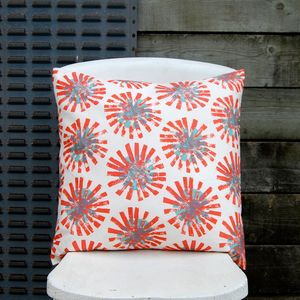 Large Square Red Dandelion Cushion