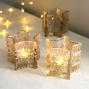 Glass Star Tealight Holder - weddings sale