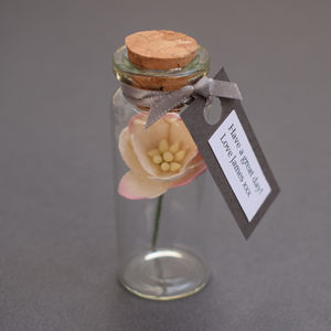 Tiny Bottle Of Blossom With Personalised Message - fresh & alternative flowers
