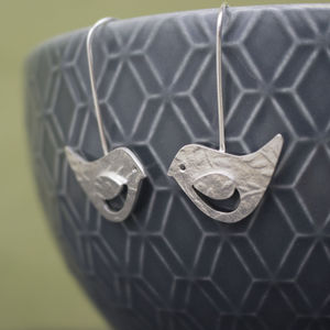 Sterling Silver Watercolour Bird Earrings
