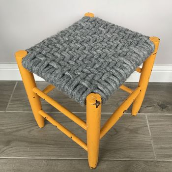 Upcycled 70's Woven Stools With Felted Merino Wool