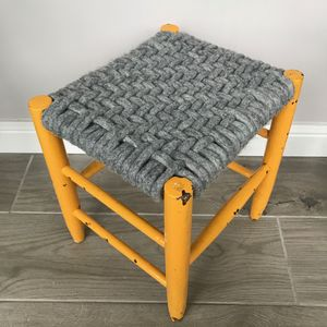 Upcycled 70's Woven Stools With Felted Merino Wool - chairs & stools