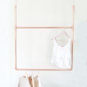 Hanging Copper Clothes Rail Display - storage