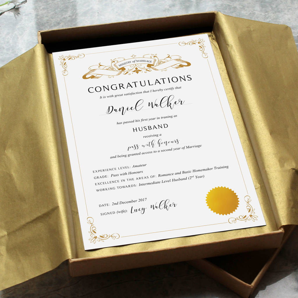 first anniversary paper gift: husband certificate by vanilla retro ...