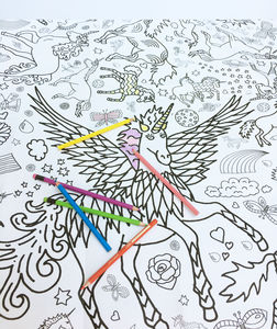 Colour In Poster Tablecloth Unicorn *Personalise It - pretend play & dressing up