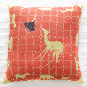 Linen Batik Cushion, Orange Camel