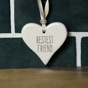 Bestest Friend Ceramic Hanging Heart