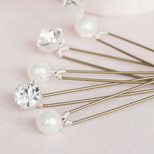 Set Of Five Pearl And Diamante Hair Pins - wedding jewellery