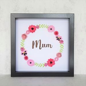 'Mum' Framed Floral Art Picture - typography