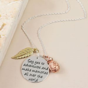 'Say Yes To Adventure' Meaningful Words Necklace