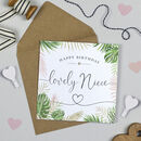 Palm Leaf 'Lovely Niece' Birthday Card