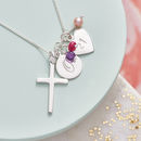Silver Cross Birthstone Personalised Necklace - Pink Fresh Water Pearl, Amethyst and Ruby Birthstone