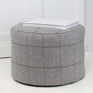 Grey And Blue Check Wool Foot Pouffe - living room