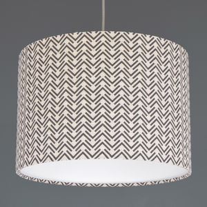 Boho Grey Arrow Linen Drum Lampshade