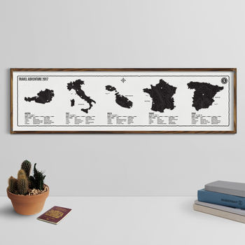 Personalised Map Of Your World Adventures Screen Print