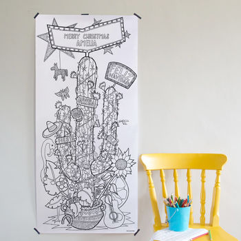Mexicana Cactus Christmas Tree Colouring Poster