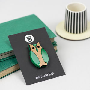 Owl Brooch Made From Green Acrylic And Wood - children's jewellery