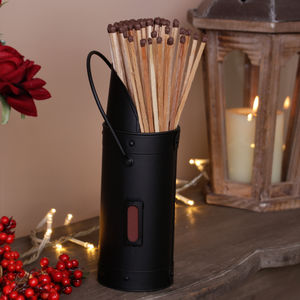 Matte Black Fireside Matches Holder - home accessories