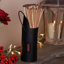 Matte Black Fireside Matches Holder