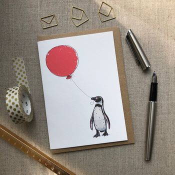 Personalised Penguin And Balloon Card