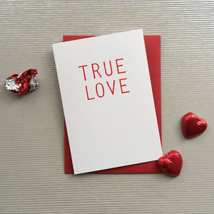 True Love Typographic Screenprinted Valentine Card