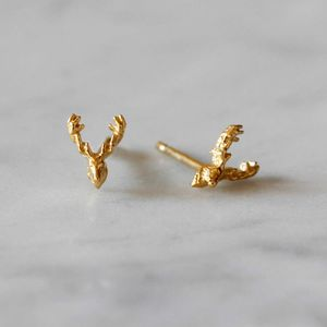 Reindeer Stud Earrings Gold Vermeil