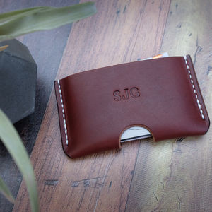 Personalised Slim Leather Card Holder - card holder
