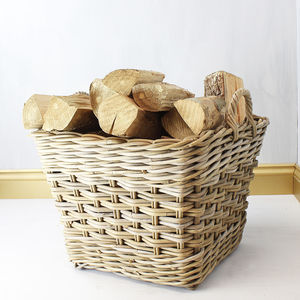 Handwoven Log Storage Basket - log baskets