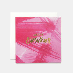 Pink Merry Christmas Greeting Card - cards