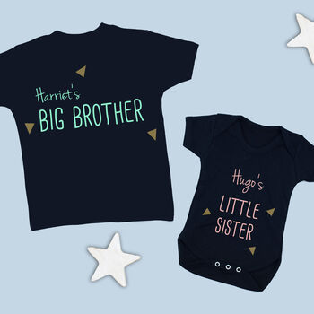 Brother And Sister Babygrow And T Shirt Set